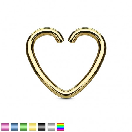 Coloured piercing ring with heart