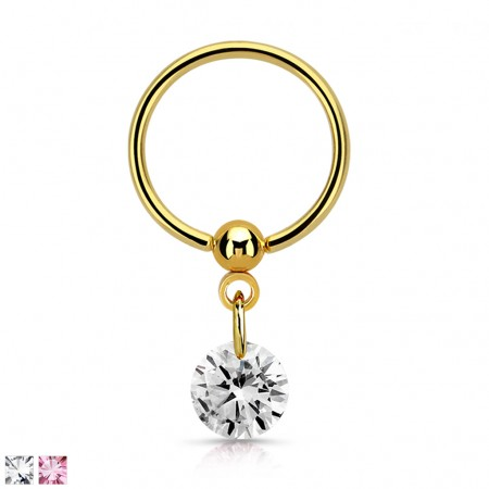 Gold ball closure ring with coloured dangling crystal