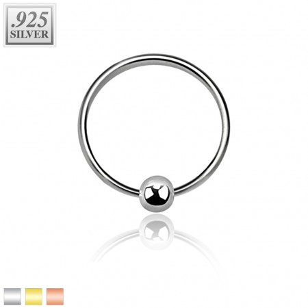 Coloured sterling silver ball closure ring with fixed ball