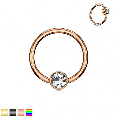 Coloured ball closure ring with clear diamond in cylinder