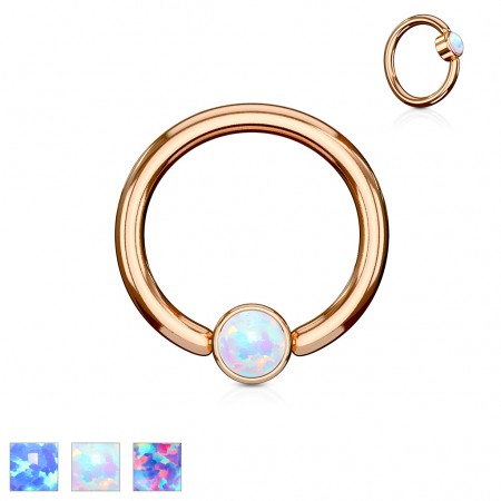 Rose gold ball closure ring with opal cylinder