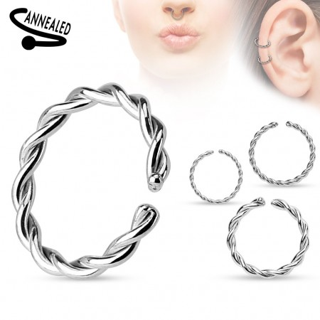 Multifunctional piercing ring of steel with a twist