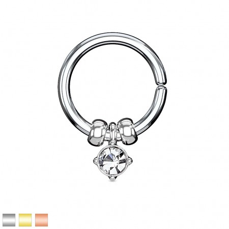 Silver hooped piercing with detachable balls and gem