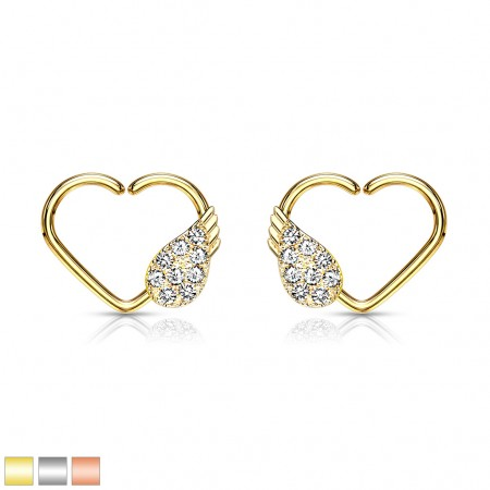 Multifunctional piercing heart shaped ring with angle wing