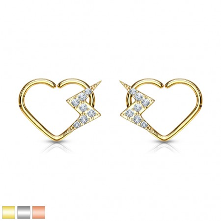 Multifunctional piercing heart shaped ring with lightning bolt