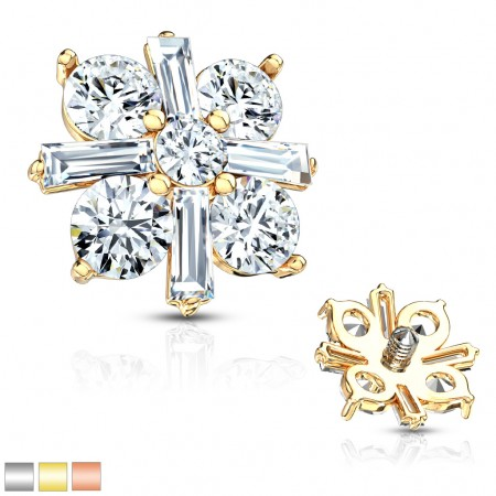 Surgical steel dermal top with cross of crystals