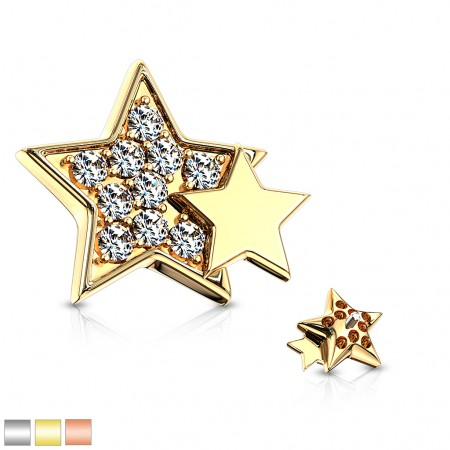 Coloured dermal top with crystal star and smaller star