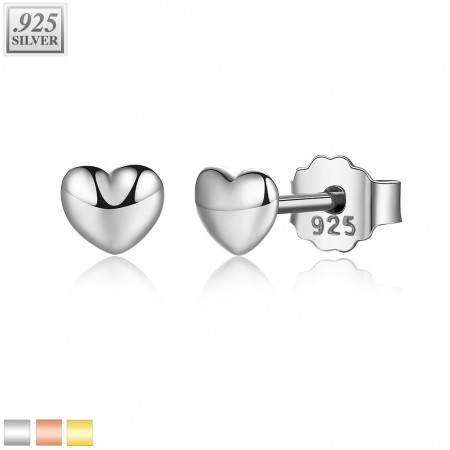 Coloured ear studs of sterling silver with little heart