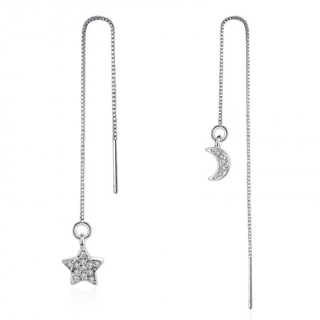 Ear chains with clear crystal star and moon