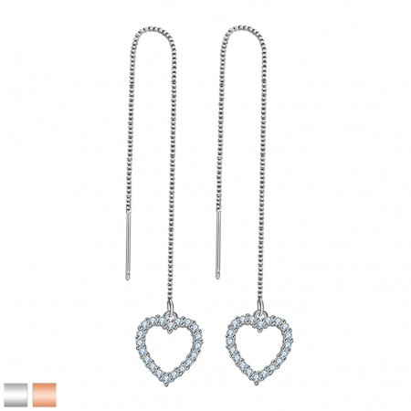 Earring with chain and heart dangle with crystals gems