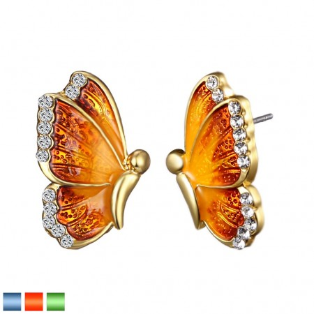 Pair ear studs with colourfull butterfly