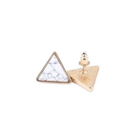 Triangle gold ear stud with marbled white stone