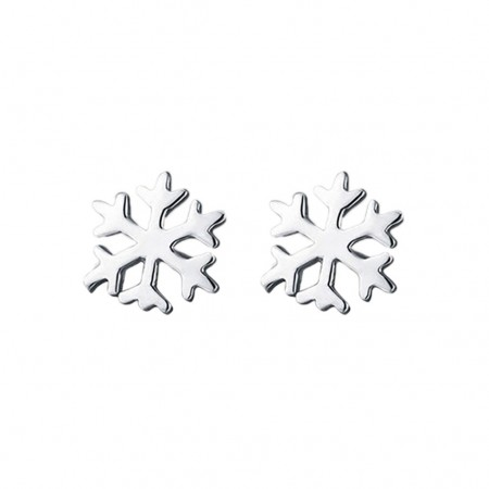 Pair of silver ear studs with snowflake design