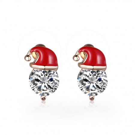 Cute ear studs of crystals with santa hat