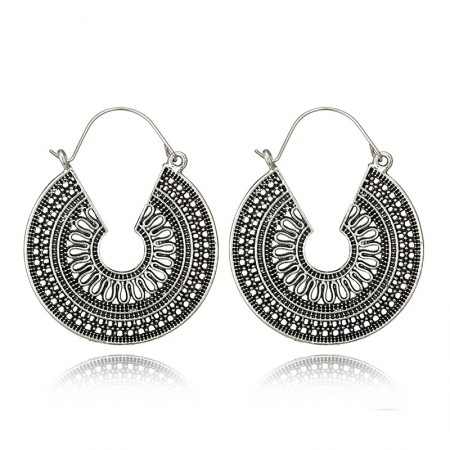 Antique silver coloured hooped disk design earrings