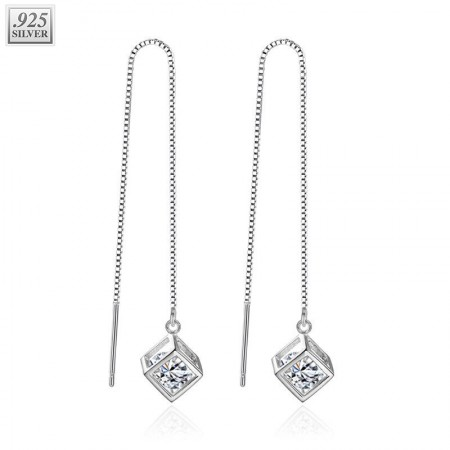 Sterling silver ear chains with clear crystal in box