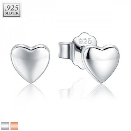 Coloured ear studs with flat heart of sterling silver