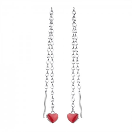 Pair of threader earrings with red hearts