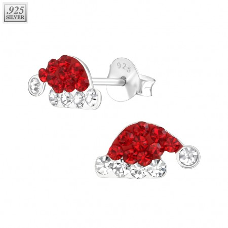 Silver ear studs santa hat with crystals