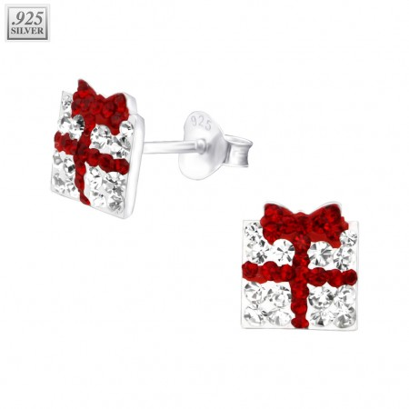Pair of silver ear studs gift box with crystals