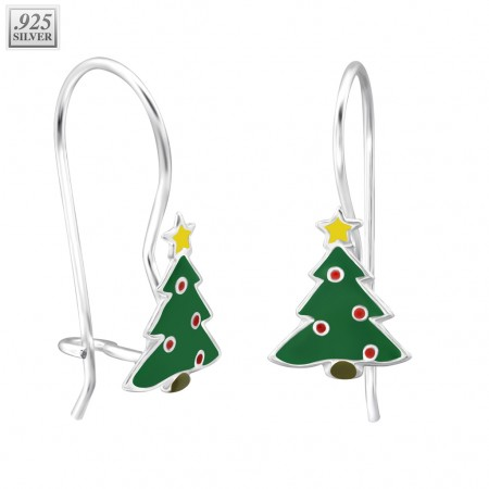 Silver christmas tree earrings with epoxy layer