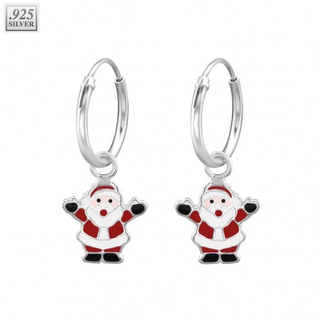 Pair of silver ear hoops with santa claus