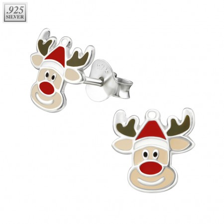 Pair of silver ear studs with reindeer face
