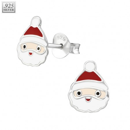 Pair of silver ear studs with santa claus face