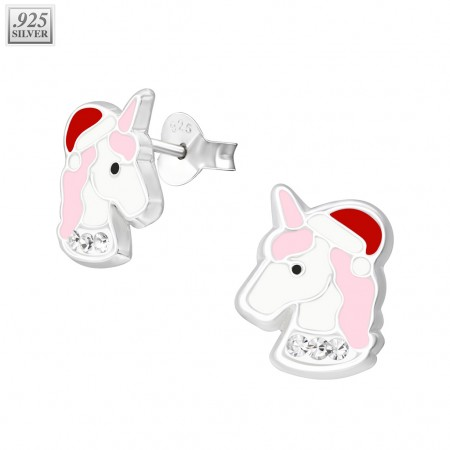 Pair of sterling silver ear studs with unicorn