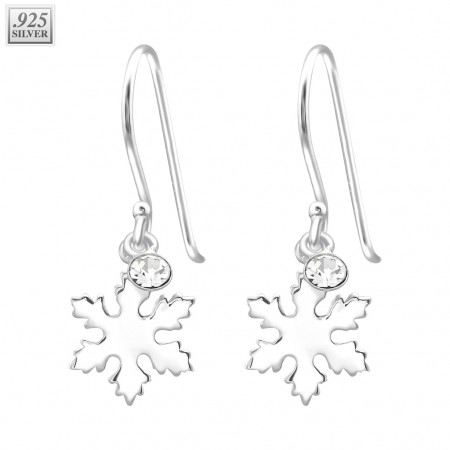 Pair of silver earrings snowflake with crystals