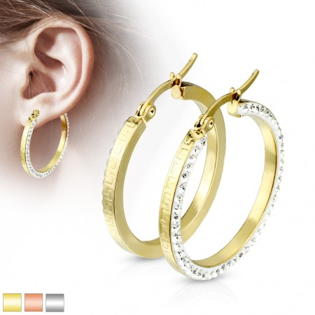 Pair of coloured earrings with crystals and forward facing maze pattern