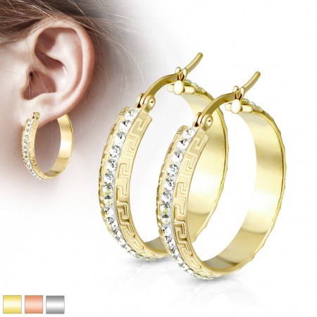 Pair of coloured earrings with crystals bordered by maze pattern
