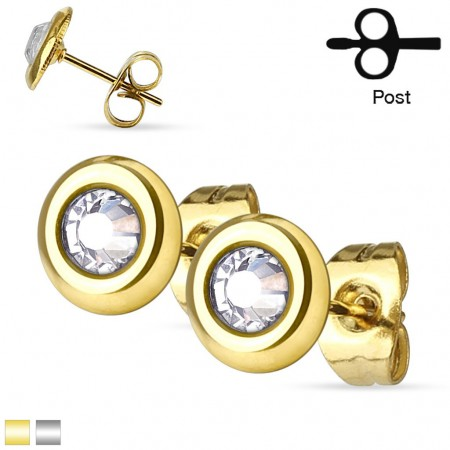 Pair of ear studs with clear crystal on a disc