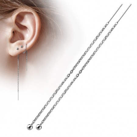 Pair of ear drops with chains and balls