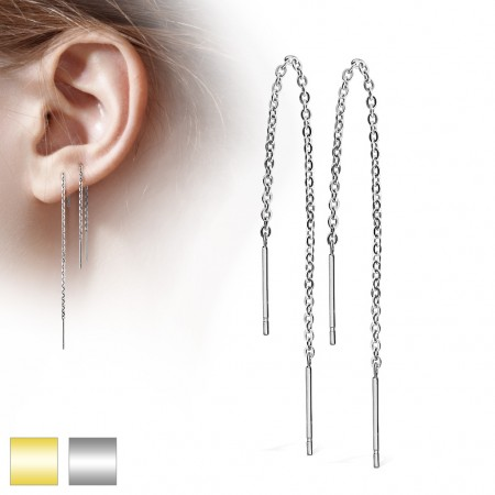 Pair of ear drops with chains and bar