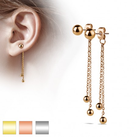 Pair of ear studs with two chains and dangling balls