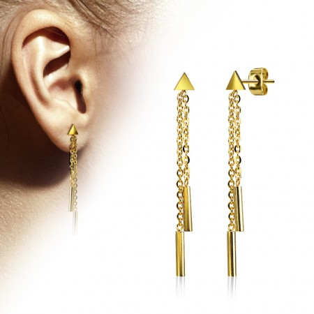 Pair gold ear studs with 2 dangling chains