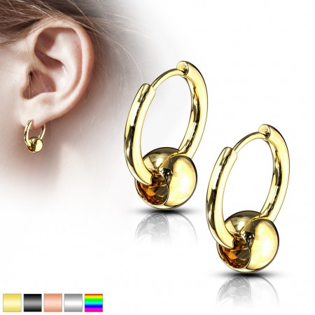 Pair coloured earrings with ball closure ring look