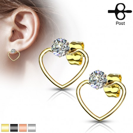 Pair of ear studs with heart and clear crystal