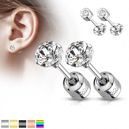 Pair of prong set round clear gem topped coloured earrings