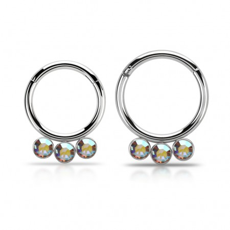 Segment ring with attached segment and 3 dangling crystals – 10 mm - Aurora Borealis