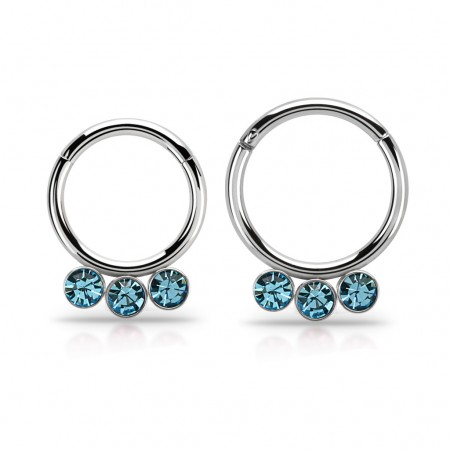 Segment ring with attached segment and 3 dangling crystals – 10 mm – Aqua