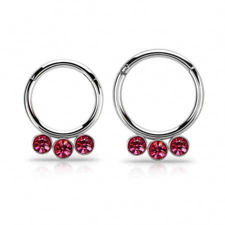 Segment ring with attached segment and 3 dangling crystals – 10 mm – Pink