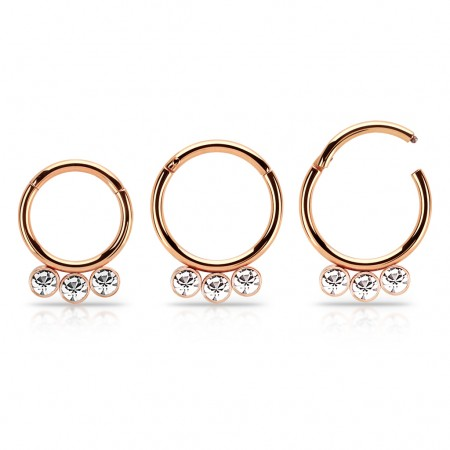 Coloured ring with attached segment and 3 dangling crystals – 10 mm - Rose Gold