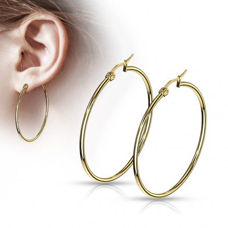 Pair gold round ear hoops in 14 lengths