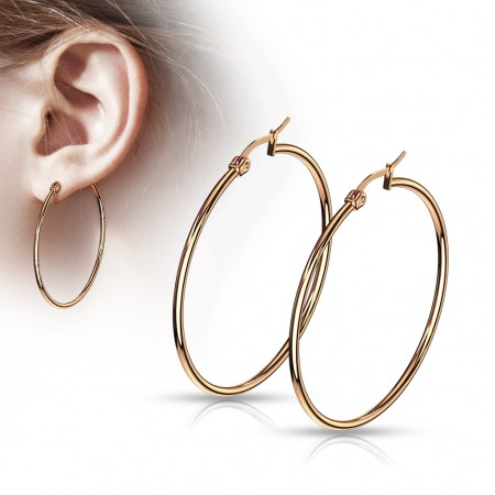 Pair rose gold round ear hoops in 14 lengths