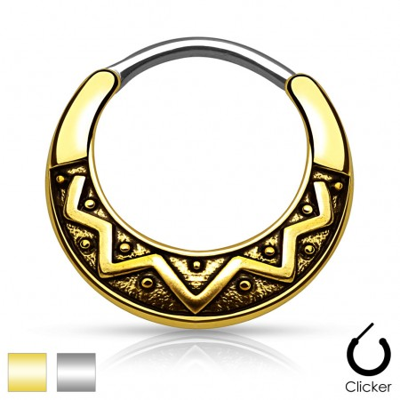 Septum clicker with round bar and vintage pattern