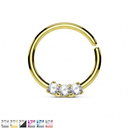 Coloured piercing ring with three diamonds