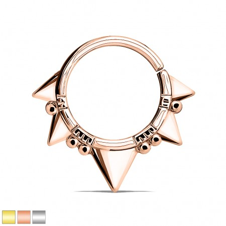 Coloured bendable piercing ring with spikes and balls