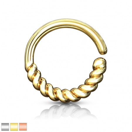 Coloured bendable piercing ring with half circle braid